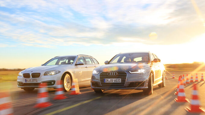 Audi A6 Avant 2.0 TDI Ultra, BMW 520d Touring, Front view