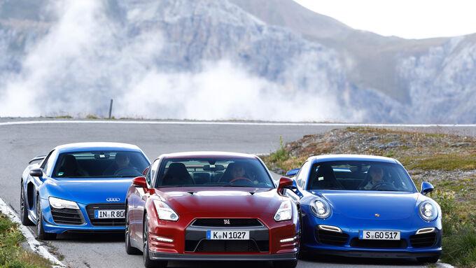 Audi R8 LMX, Nissan GT-R, Porsche 911 Turbo S, Front view