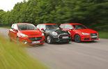 Audi S1, Mini JCW, Opel Corsa OPC, Frontansicht