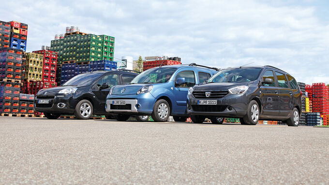 Dacia Lodgy dCi 90, Peugeot Partner Tepee HDi 115, Renault Kangoo dCi 90 energy, Seitenansicht