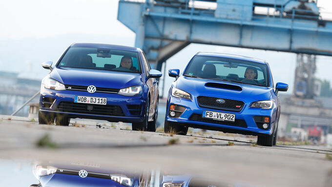 Subaru WRX STI, VW Golf, Front view