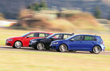 VW Golf R, Audi S3 Sportback, BMW M135i xDRIVE, Seitenansicht