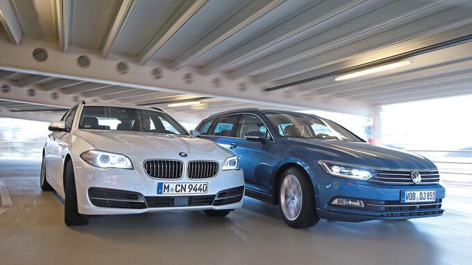 VW Passat Variant 2.0 TDI, BMW 518d Touring, Front view